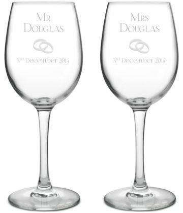 "Mr & Mrs Wedding/Anniversary Personalised Wine Glass Set 20.5cm (8"")"