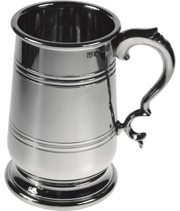"Extra Heavy Jacobean 1pt Sheffield Pewter Tankard 14cm (5.5"")"