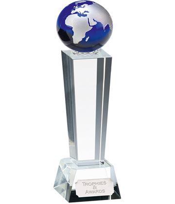 "Optical Crystal Unite Blue Globe Glass Award 24cm (9.5"")"