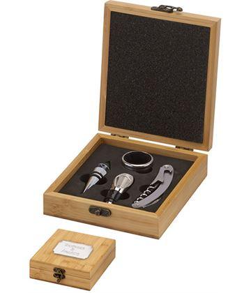 """Bamboo Finish 4 Piece Wine Gift Set 19.5cm (7.75"""")"""