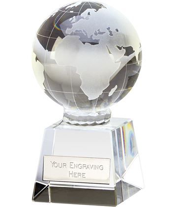 "Victory Globe Optical Crystal Glass Award 10cm (4"")"