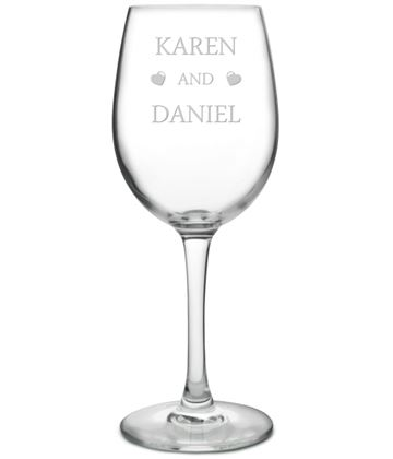 """You & Me Love Hearts Large Personalised Wine Glass 20.5cm (8"""")"""