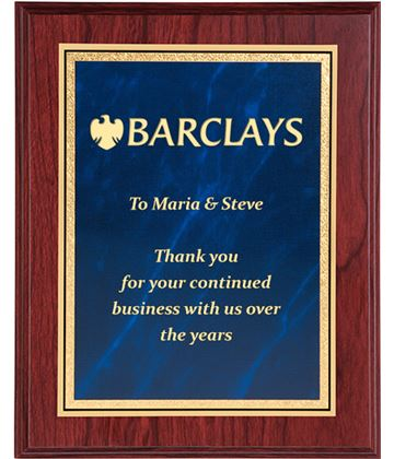 """Mahogany Finished Gold & Blue Marble Mist Plaque 23cm (9"""")"""