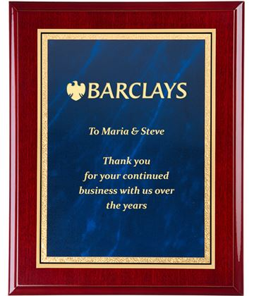"""Gloss Rosewood Finished Gold & Blue Marble Mist Plaque 25.5cm (10"""")"""
