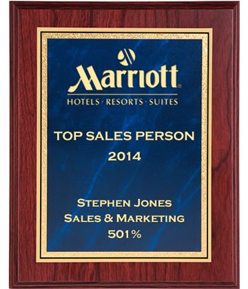 """Mahogany Finished Gold & Blue Marble Mist Plaque 25.5cm (10"""")"""