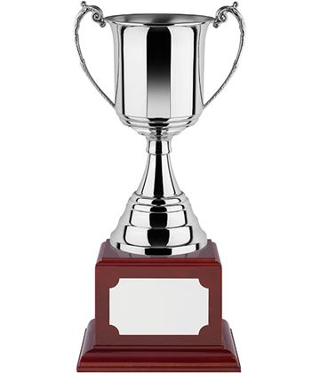 """Revolution Nickel Plated Trophy Cup on Rosewood Base 35cm (13.75"""")"""