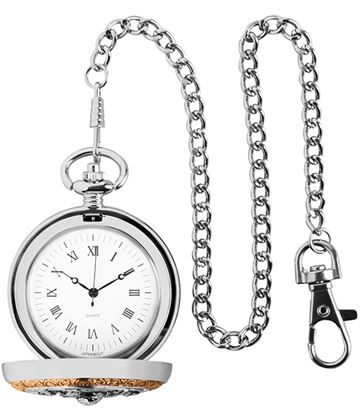"""Gold & Silver Finished Golf Themed Pocket Watch 5cm (2"""")"""