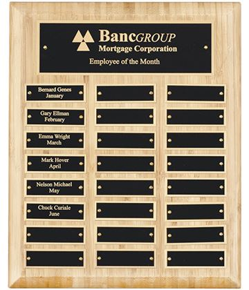 "Bamboo Presentation Plaque with Gold & Black Brass Plates 33cm (13"")"