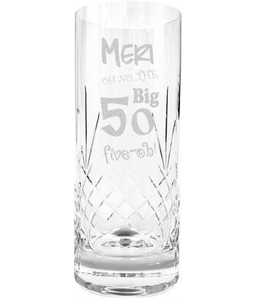Oh No The Big Five Oh 50th Birthday Highball Glass 1/2 Pint 16cm