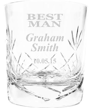 "Best Man Personalised Crystal Whisky Tumbler 9.5cm (3.5"")"