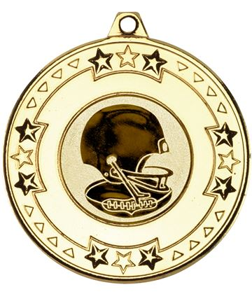 """Gold Star & Pattern Medal with 1"""" American Football Centre Disc 50mm (2"""")"""