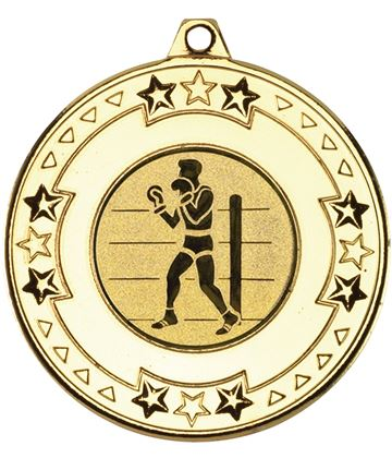 """Gold Star & Pattern Medal 50mm (2"""") with 1"""" Boxing Centre Disc"""