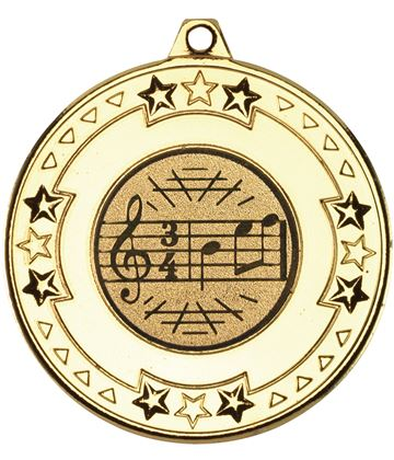 "Gold Star & Pattern Medal with 1"" Singing/Music Centre Disc 50mm (2"")"