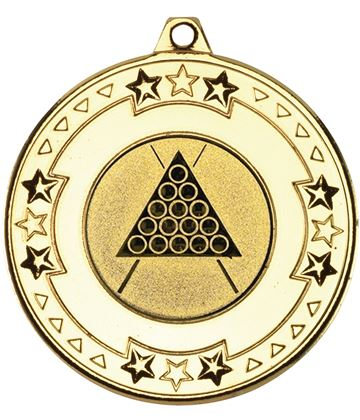 """Gold Star & Pattern Medal with 1"""" Snooker/Pool Centre Disc 50mm (2"""")"""