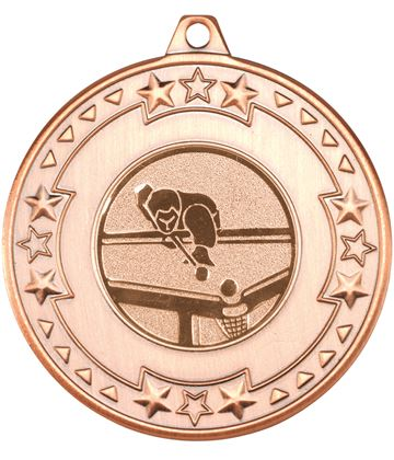 """Bronze Star & Pattern Medal with 1"""" Pool Centre Disc 50mm (2"""")"""