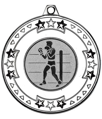 """Silver Star & Pattern Medal 50mm (2"""") with 1"""" Boxing Centre Disc"""