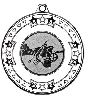 """Silver Star & Pattern Medal with 1"""" Gardening Centre Disc 50mm (2"""")"""