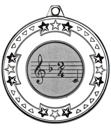 "Silver Star & Pattern Medal with 1"" Singing/Music Centre Disc 50mm (2"")"