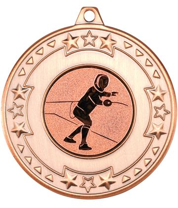 """Bronze Star & Pattern Medal with 1"""" Fencing Centre Disc 50mm (2"""")"""