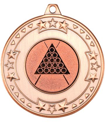 """Bronze Star & Pattern Medal with 1"""" Snooker/Pool Centre Disc 50mm (2"""")"""
