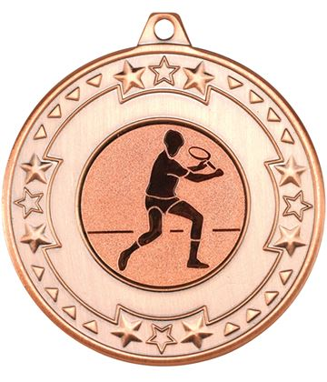 "Bronze Star & Pattern Medal with 1"" Squash Player Centre Disc 50mm (2"")"
