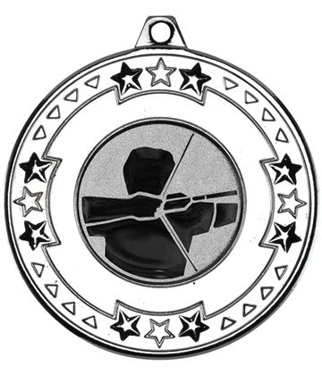 "Silver Star & Pattern Medal with 1"" Archery Centre Disc 50mm (2"")"