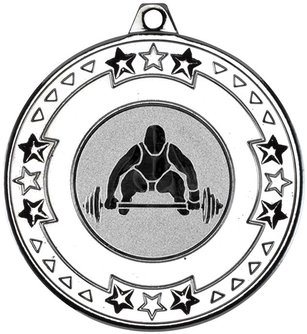 """Silver Star & Pattern Medal with 1"""" Weight Lifting Centre Disc 50mm (2"""")"""