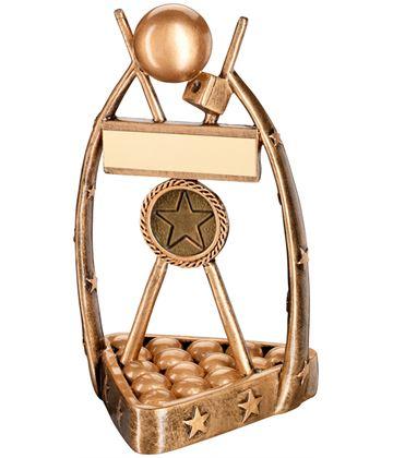 "Gold Resin Snooker/Pool Balls, Cues & Chalk Trophy 17cm (6.75"")"