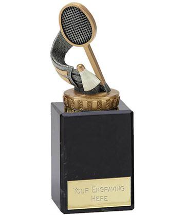 "Antique Silver & Gold Badminton Trophy on Marble Base 14.5cm (5.75"")"