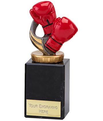 "Red Boxing Gloves Trophy on Marble Base 12.5cm (5.75"")"