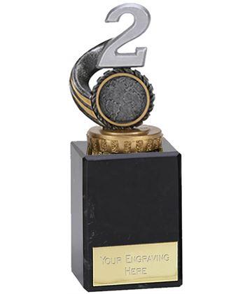 "Silver & Gold Plastic Number 2 Trophy on Marble Base 14.5cm (5.75"")"