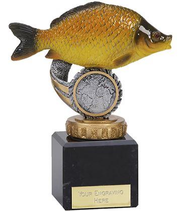 "Common Carp Plastic Fishing Trophy on Marble Base 12cm (4.75"")"
