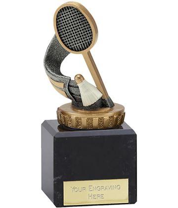"Antique Silver & Gold Badminton Trophy on Marble Base 12cm (4.75"")"