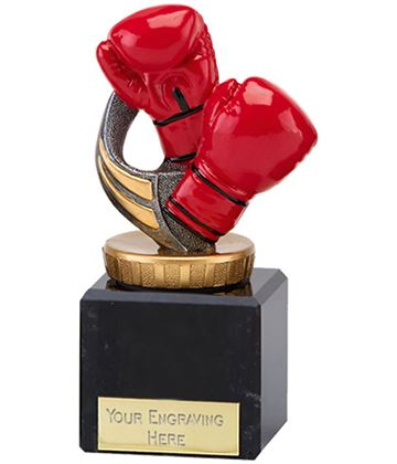 "Red Boxing Gloves Trophy on Marble Base 11cm (4.75"")"