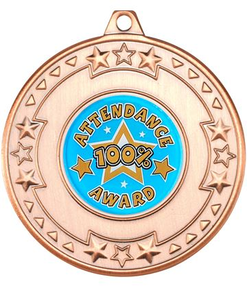 """Bronze Attendance Medal with Star Pattern 50mm (2"""")"""