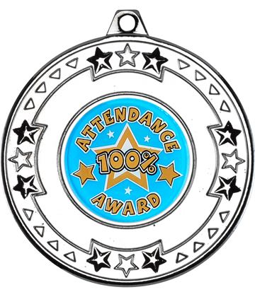 """Silver Attendance Medal with Star Pattern 50mm (2"""")"""