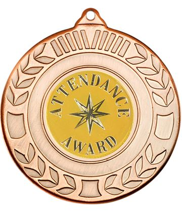 """Bronze Attendance Award Medal with Wreath Pattern 50mm (2"""")"""