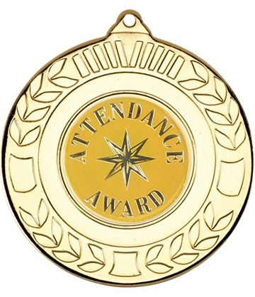 """Gold Attendance Award Medal with Wreath Pattern 50mm (2"""")"""