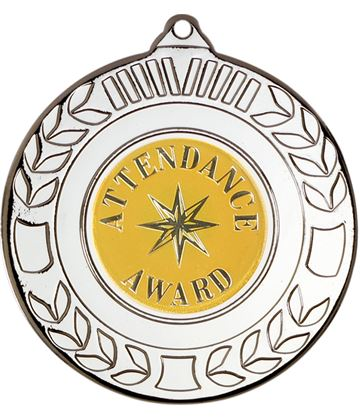 "Silver Attendance Award Medal with Wreath Pattern 50mm (2"")"