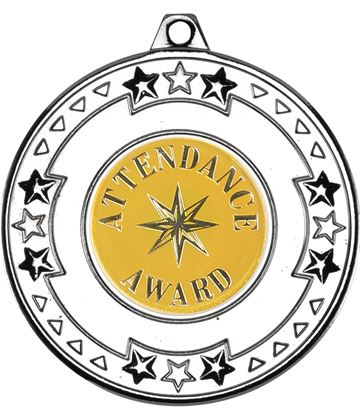 "Silver Attendance Award Medal with Star Pattern 50mm (2"")"