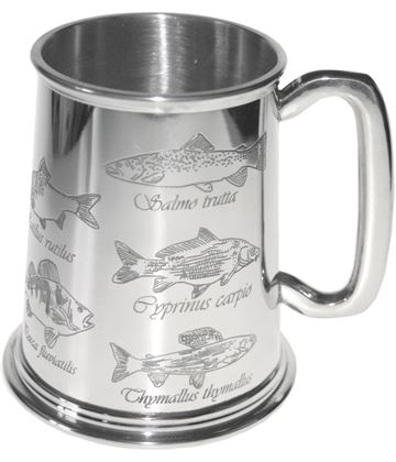 "Common Fish Embossed 1pt Sheffield Pewter Tankard 11.5cm (4.5"")"