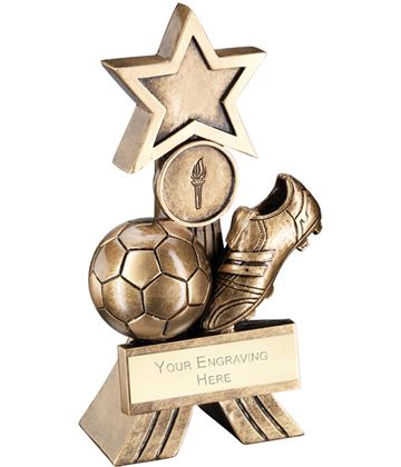 "Antique Gold Football Shooting Star Trophy 12.5cm (5"")"