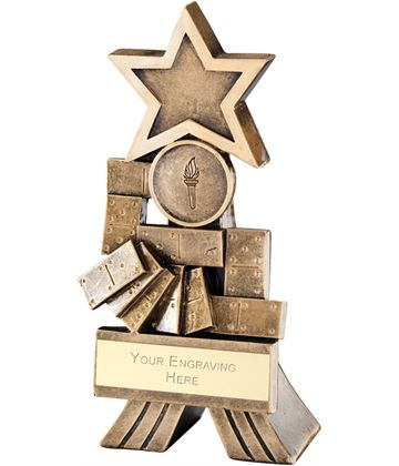"Antique Gold Dominoes Shooting Star Trophy 15cm (6"")"