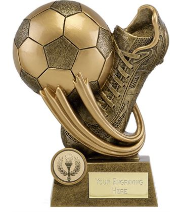 """Epic Resin Football Boot & Ball Trophy 11.5cm (4.5"""")"""