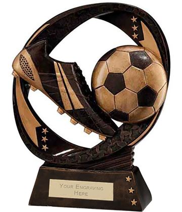 "Typhoon Football Boot & Ball Trophy 19cm (7.5"")"