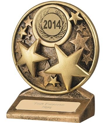"2014 Round Gold Resin Multi Star Trophy 11cm (4.25"")"