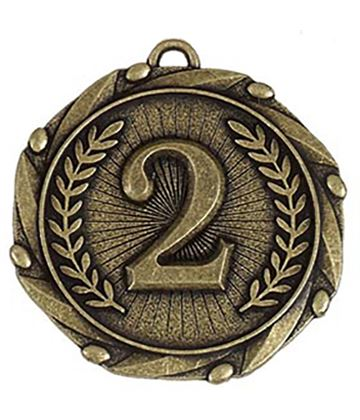 """Gold 2nd Place Medal with Red, White & Blue Ribbon 45mm (1.75"""")"""