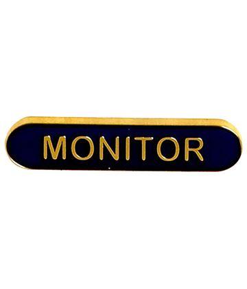Monitor Lapel Bar Badge Blue 40mm x 8mm