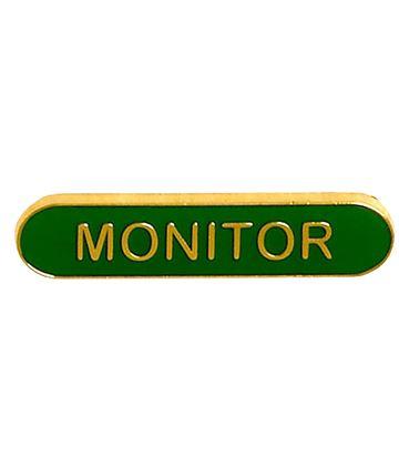 Monitor Lapel Bar Badge Green 40mm x 8mm
