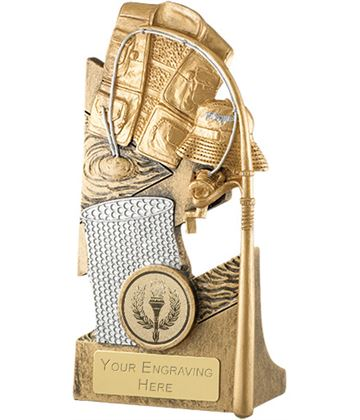 """Gold Fishing Equipment Trophy with Coloured Centre 15cm (6"""")"""